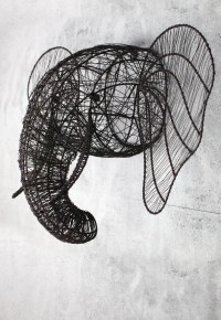 Wire elephant head wall sculpture - Decorator's Notebook