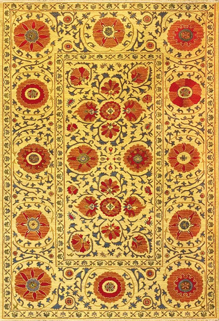 Suzani Style Wool Soumak Area Rug Uzbek Suzani goldred