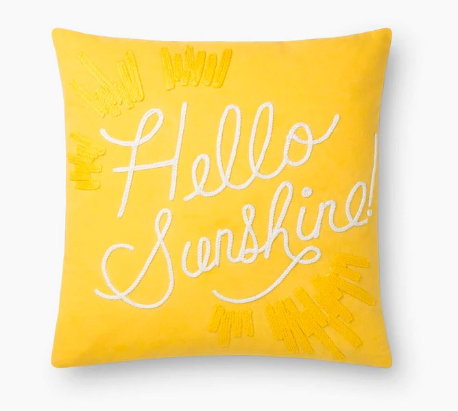 rifle hello sunshine embroidered pillow mrs post stationery