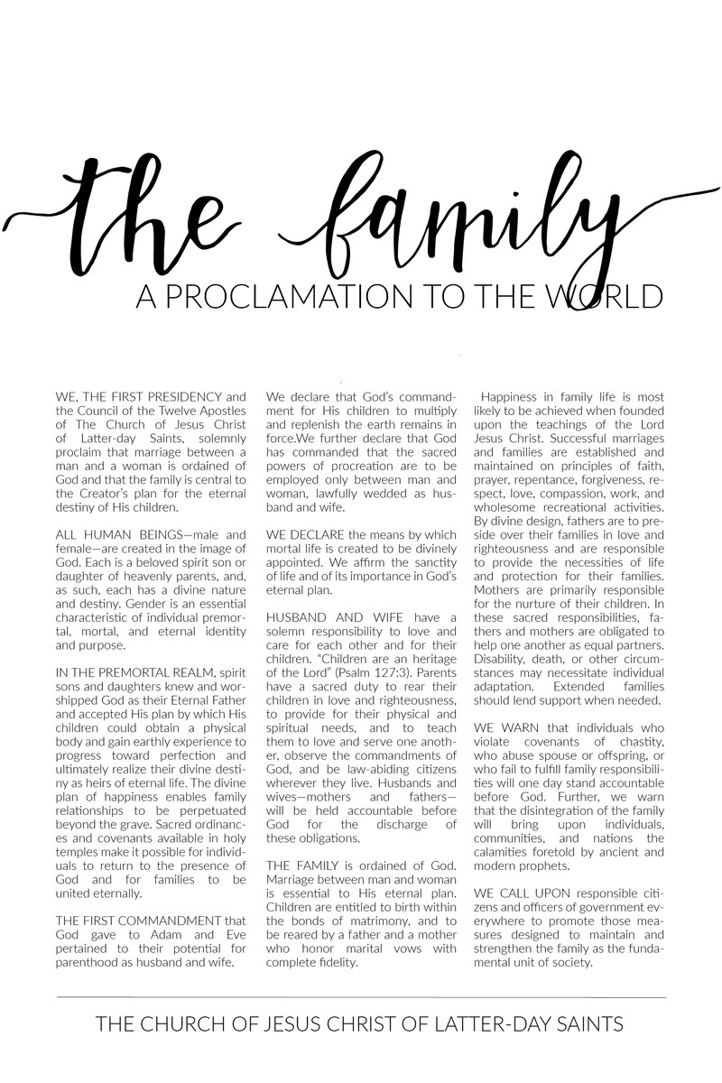 The Family Proclamation Pdf : family, proclamation, Instant, Digital, Download, Family, Proclamation, Simply, Fortify