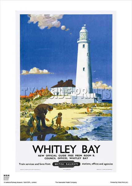 St Mary's Lighthouse Whitley Bay Travel Poster