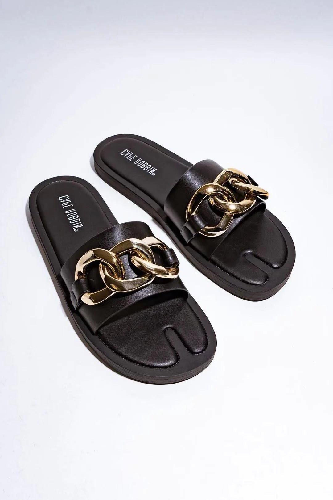 Gucci Slides Size Chart : gucci, slides, chart, FLASHYBOX, CHAIN, HEART, SANDAL-BLACK, Women's, Shoes