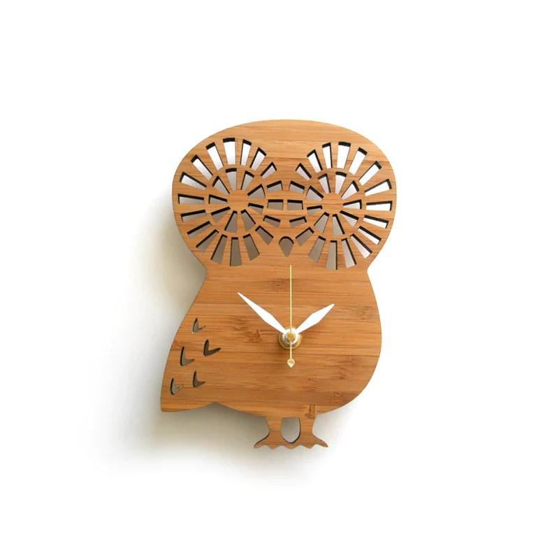 Owl Wall Clock Small Nursery Decor Wood Clock Wall Accent Decorative Wall Clocks And Gifts Decoylab