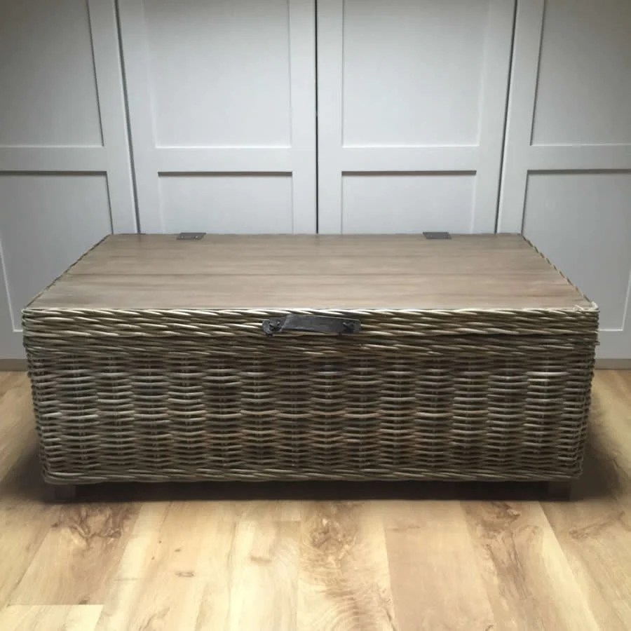 handcrafted timber rattan large storage coffee table vintage wooden top