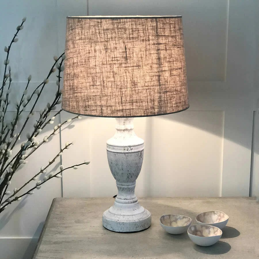 Antique White Table Lamp - Wooden Cowshed Interiors