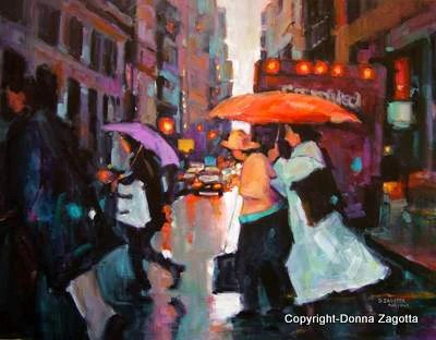 The Orange Umbrella 22x30 - by Donna Zagotta