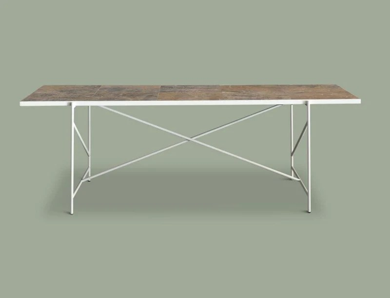 Marble Dining Table With White Metal Base Sale