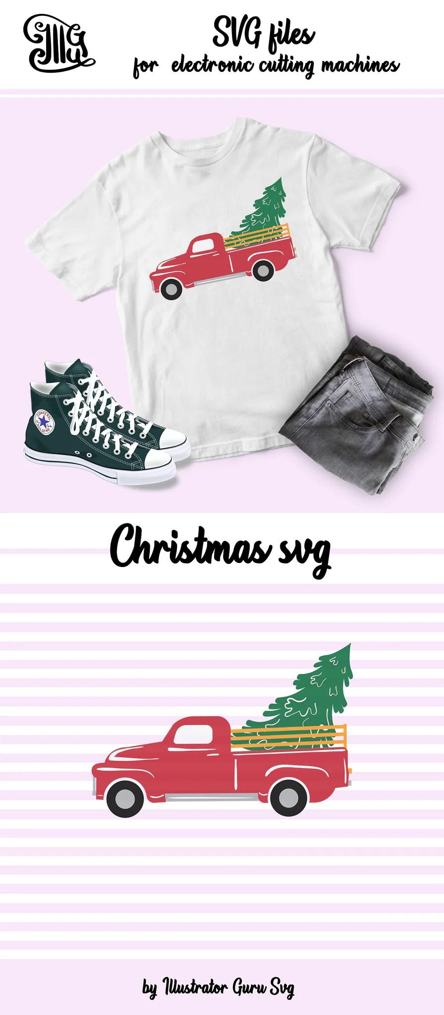 Christmas Truck Svg Free : christmas, truck, Vintage, Christmas, Truck, Shirt, Illustrator