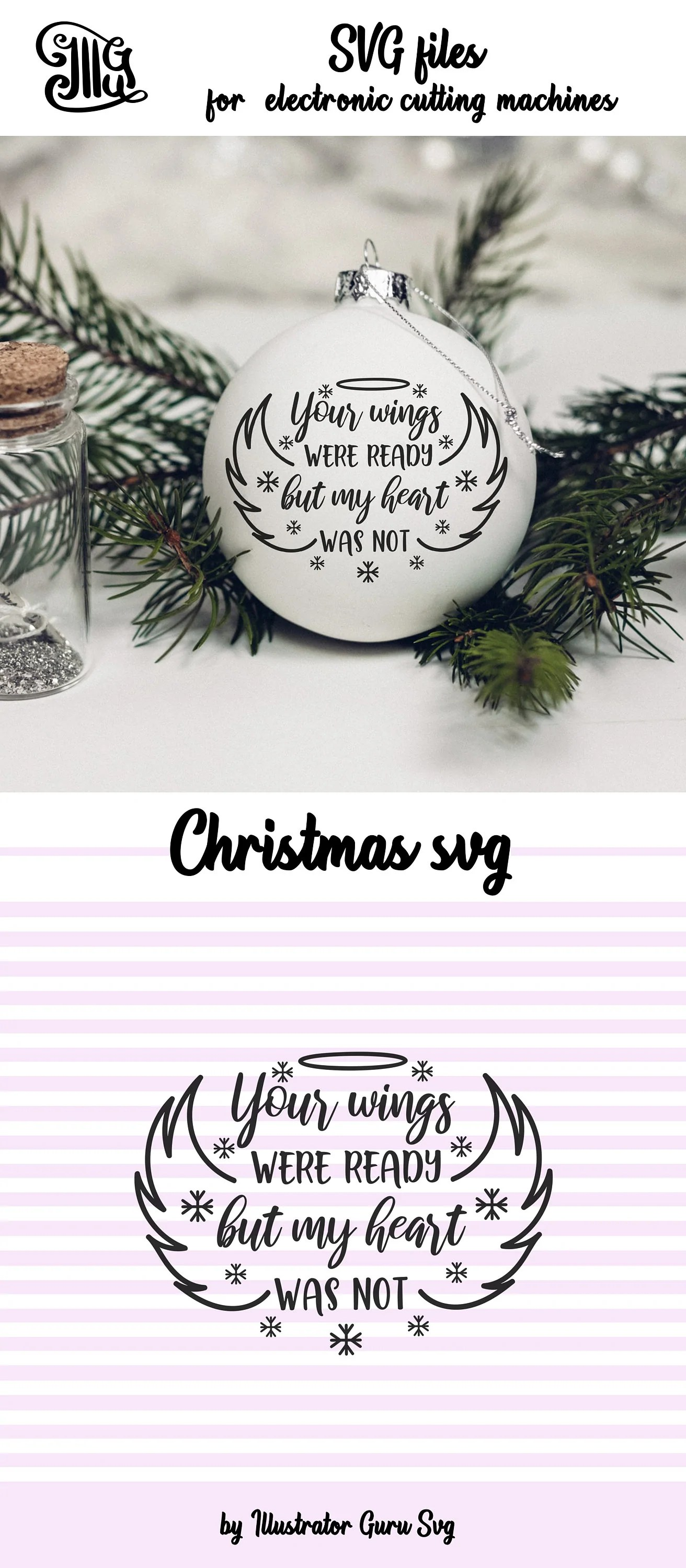 Ornaments Svg : ornaments, Wings, Ready, Heart, Memorial, Christma, Illustrator