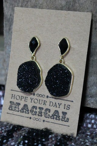 Druzy Earrings in Black