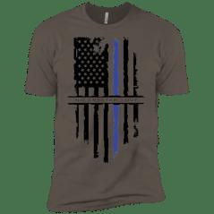 NGL Tattered Blue Line Flag Premium Short Sleeve T-Shirt
