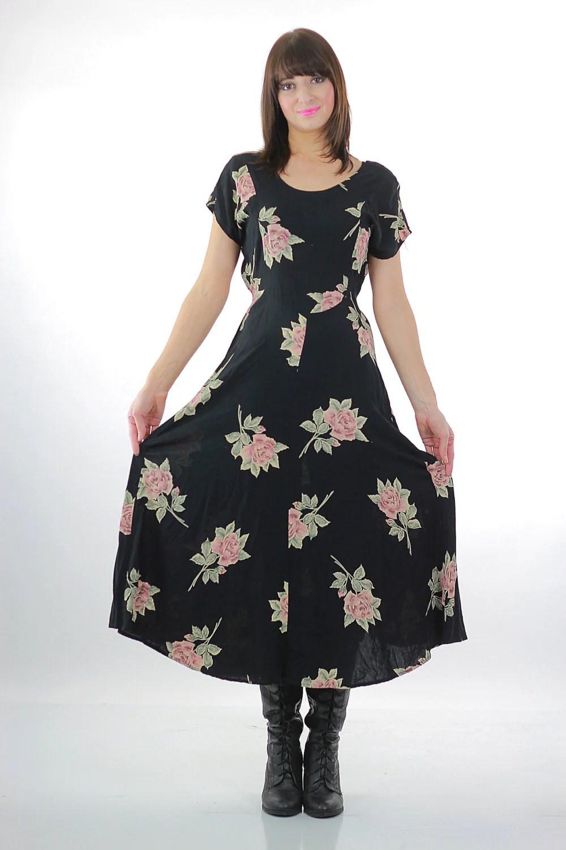 1d31f8f0f792 Floral Grunge Dress Pink Floral Print On Black Babydoll Garden Party