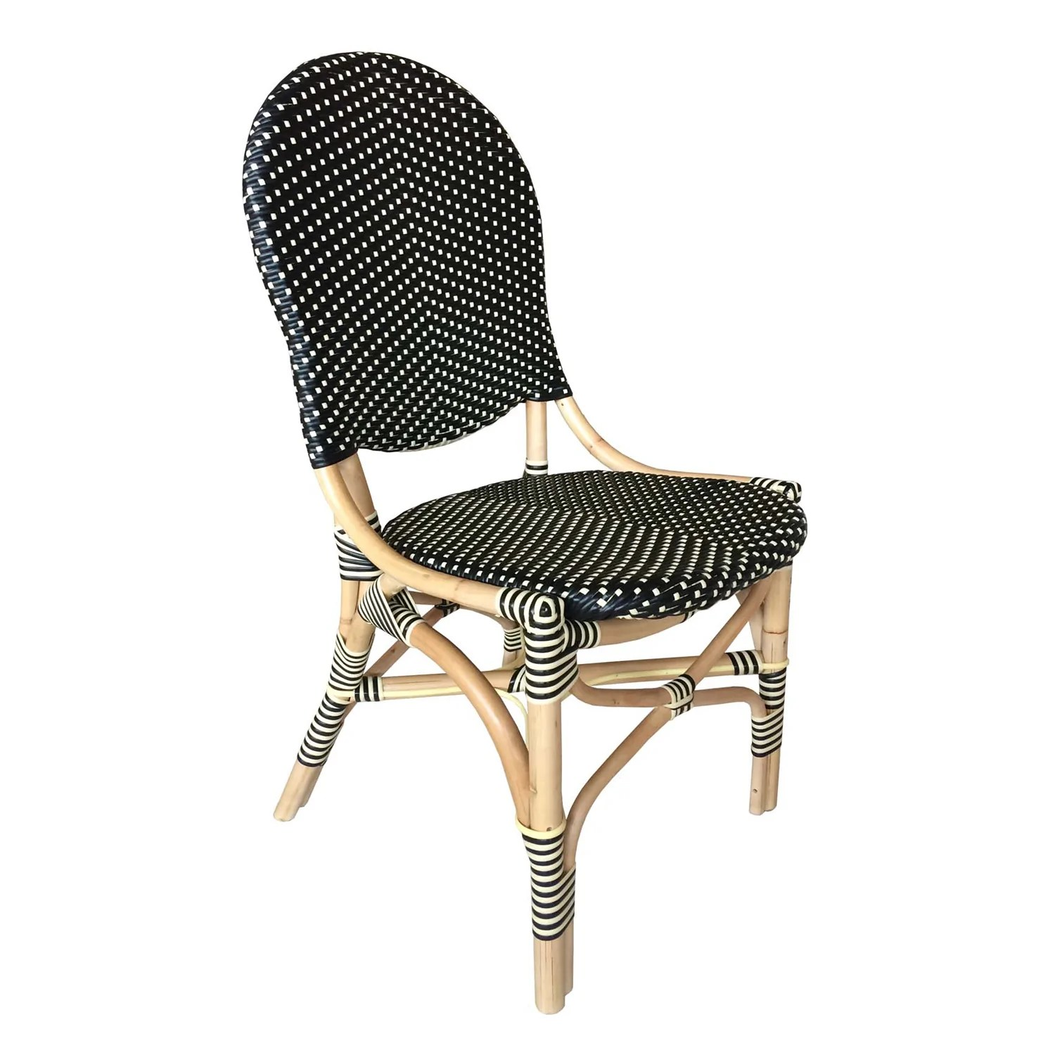 Outdoor French Bistro Chairs French Bistro Chair Black Beige Set Of 2 Padma S Plantation