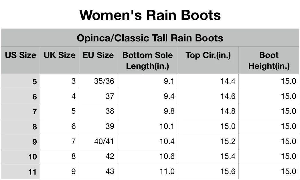 Size chart also online guide for rain boots roma rh romaboots