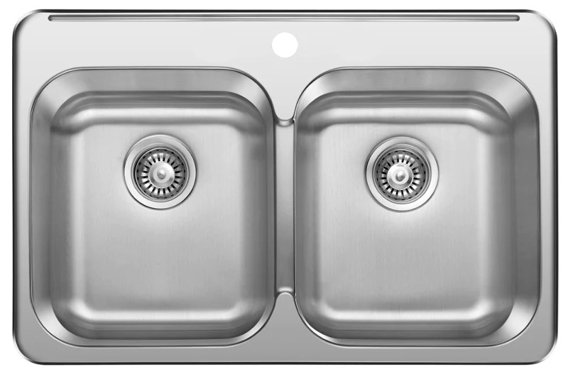 excalibur edl2031 8 1 1 hole 2 bowl drop in sink 8 deep stainless steel