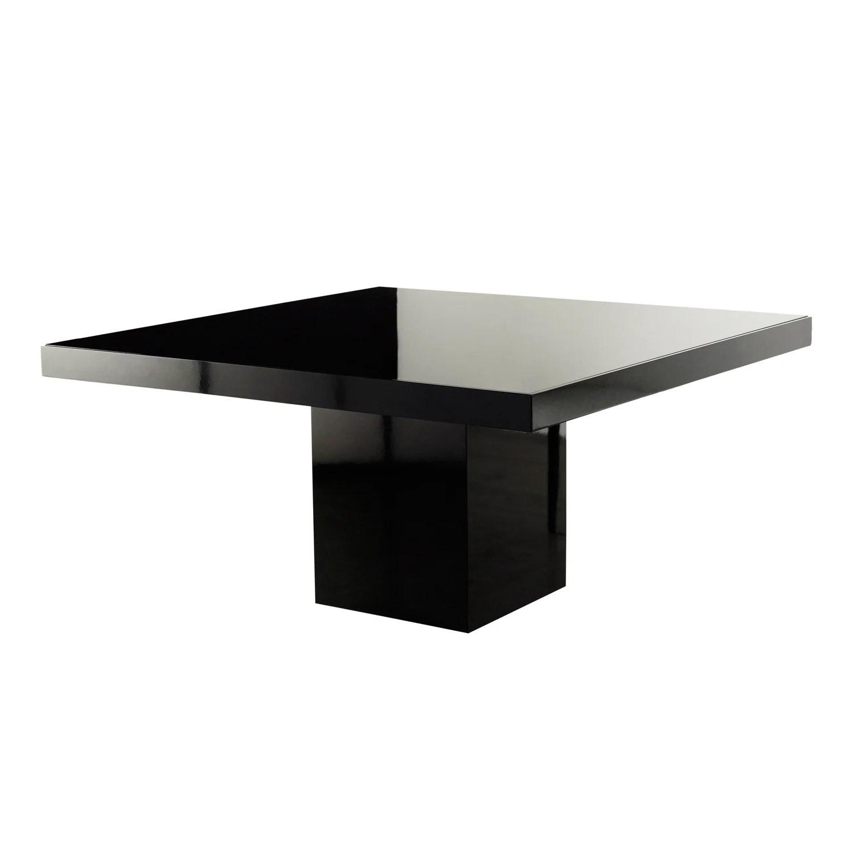 lacquer 59 square table black glass