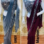 Indian Dresses Drape Saree Lycra Embroidered Ready To Wear Designer Sa