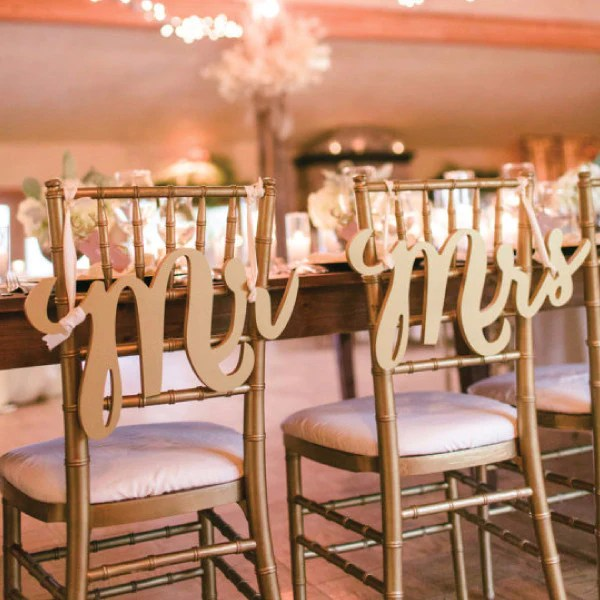 mr and mrs chair signs cherry rocking handcrafted for elegant weddings z create design calligraphy style