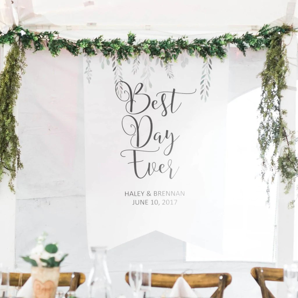 personalized wedding backdrop leaves