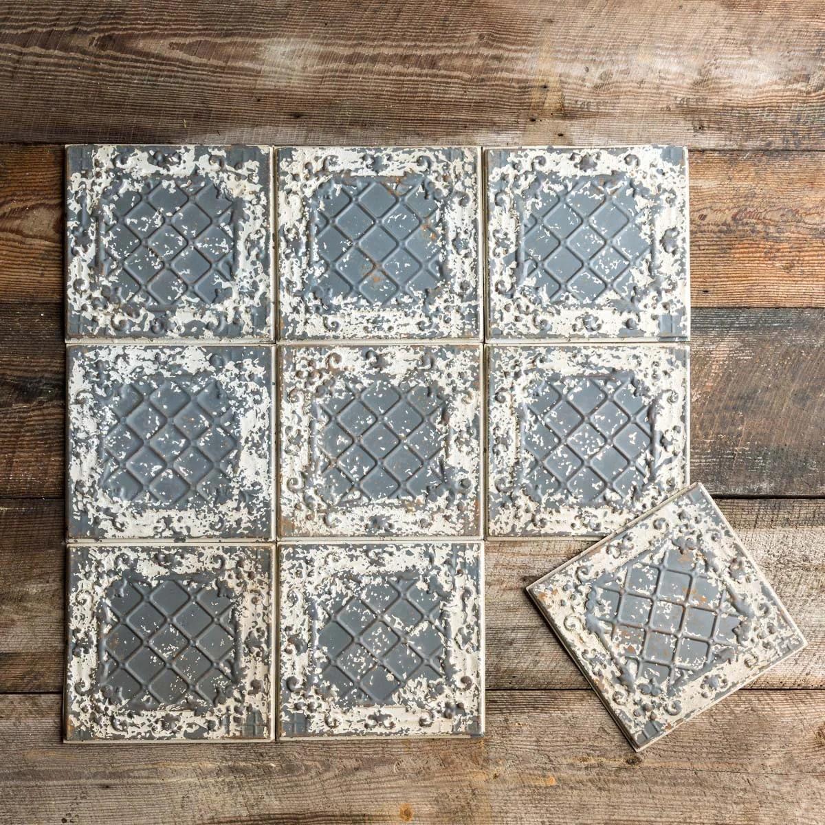 lovecup antique white tin ceiling tile set of 16 l923