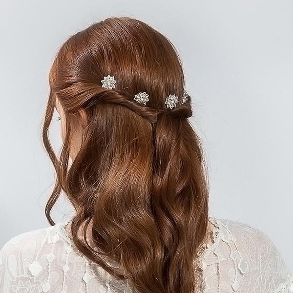 crystal daisy pins bridal hair accessories hair pins crystal and milk glass