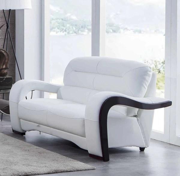 U992 White Leather Living Room Set - Classic 2 Modern ...