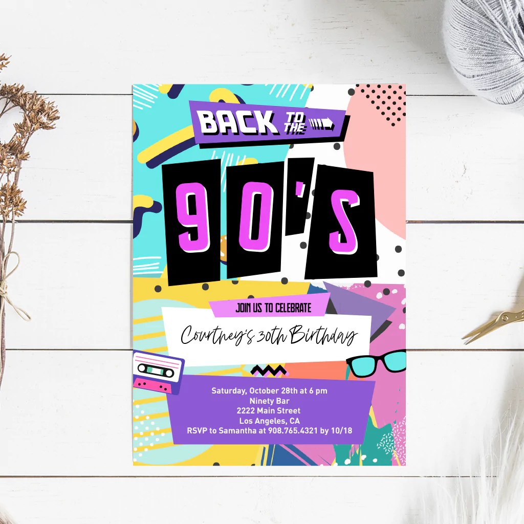 back to the 90s birthday party invitation