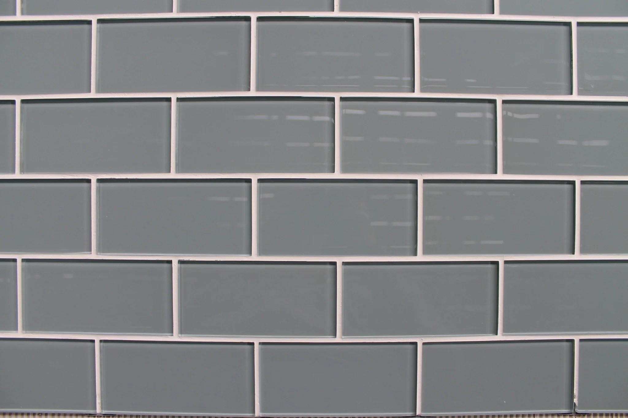 Chimney Smoke Gray 3x6 Glass Subway Tiles  Rocky Point