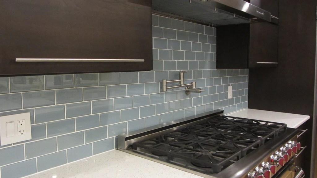 glass subway tile kitchen backsplash country lighting jasper blue gray 3x6 tiles – rocky point ...