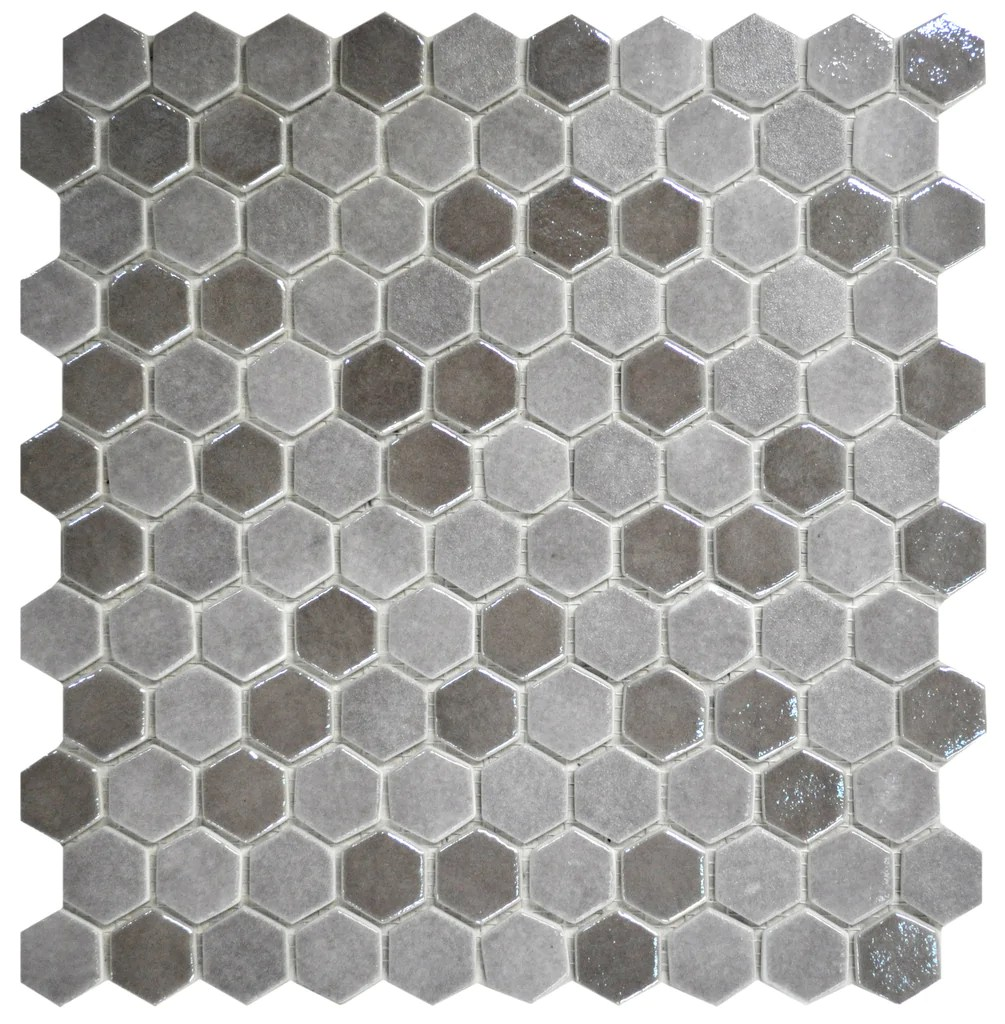 1 inch taupe hexagon mosaic tiles