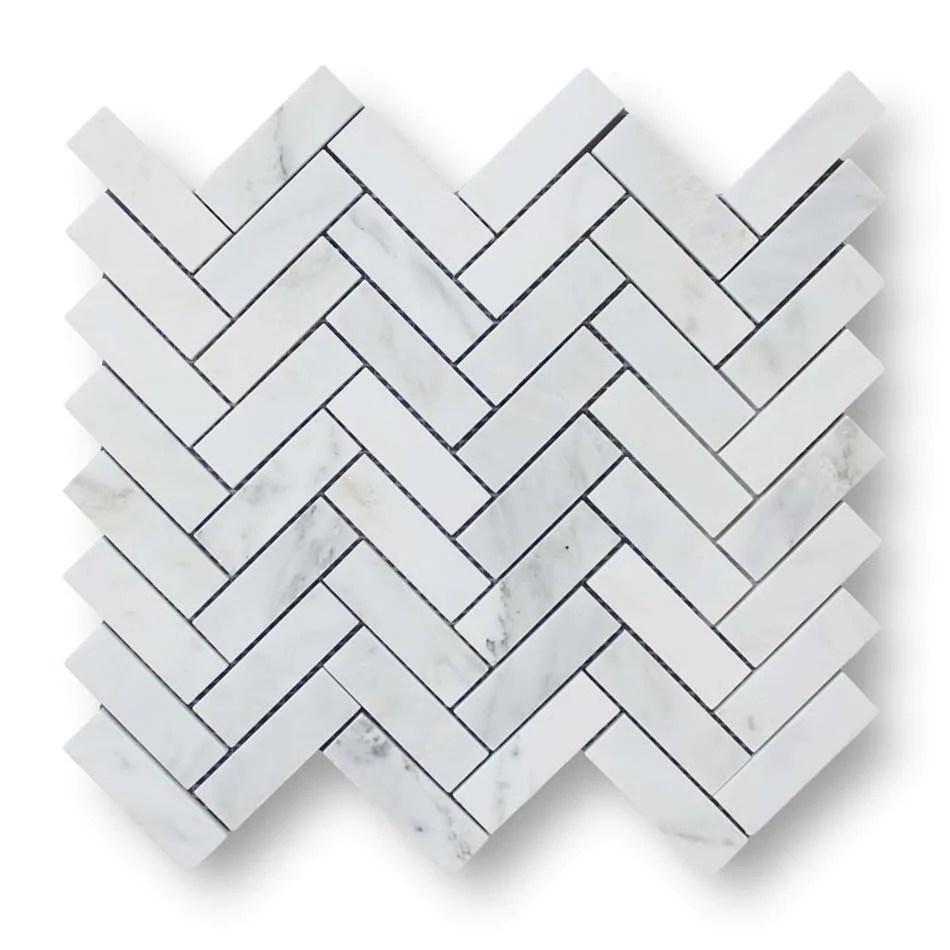 bianco carrara herringbone marble mosaic tile