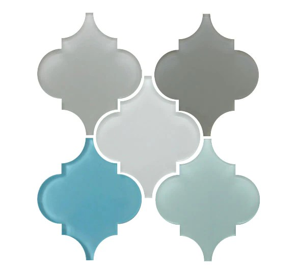 arabesque glass mosaic tile combo pack grays and blues