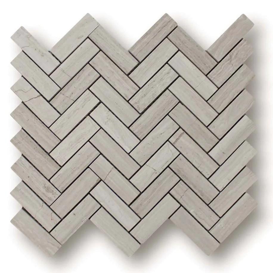 driftwood marble herringbone mosaic tile
