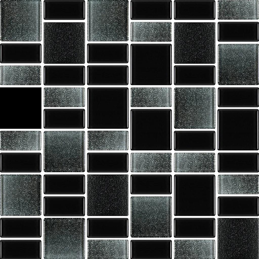 fusion black glass mosaic tiles