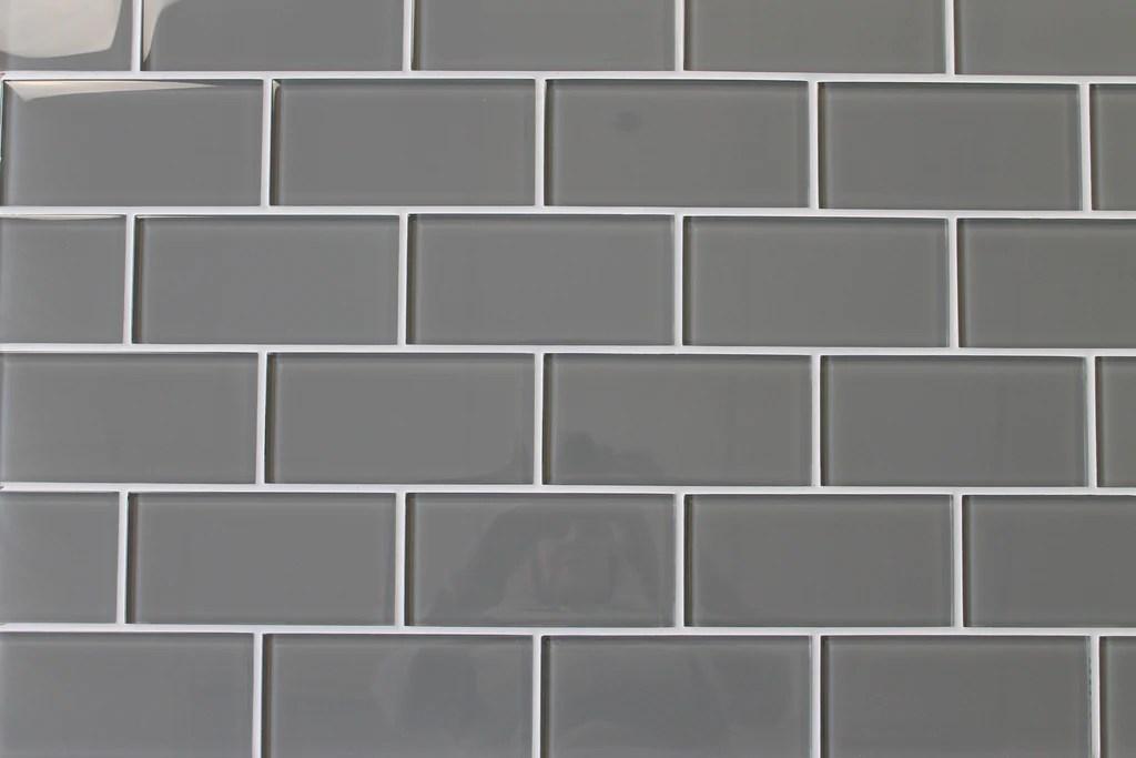 pebble gray 3x6 glass subway tiles