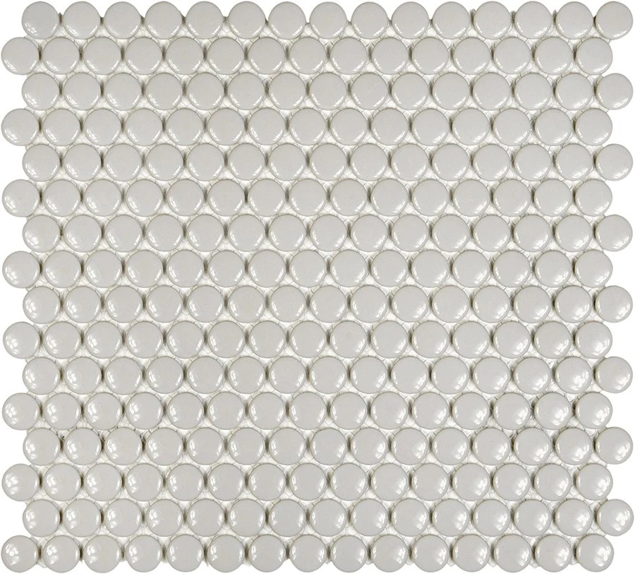 glazed porcelain penny round mosaic tiles 3 4 inch gray