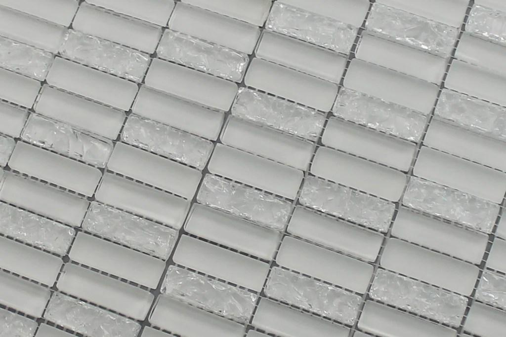 sparkle white glass mosaic subway tiles