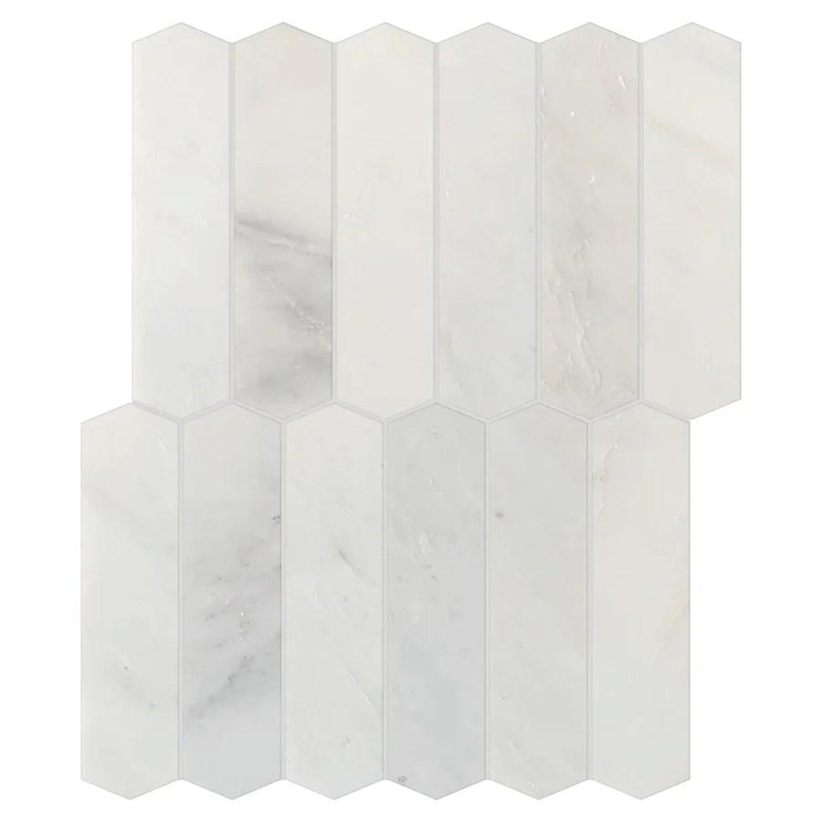 studio marble polished large picket mosaic tiles bianco macchiato