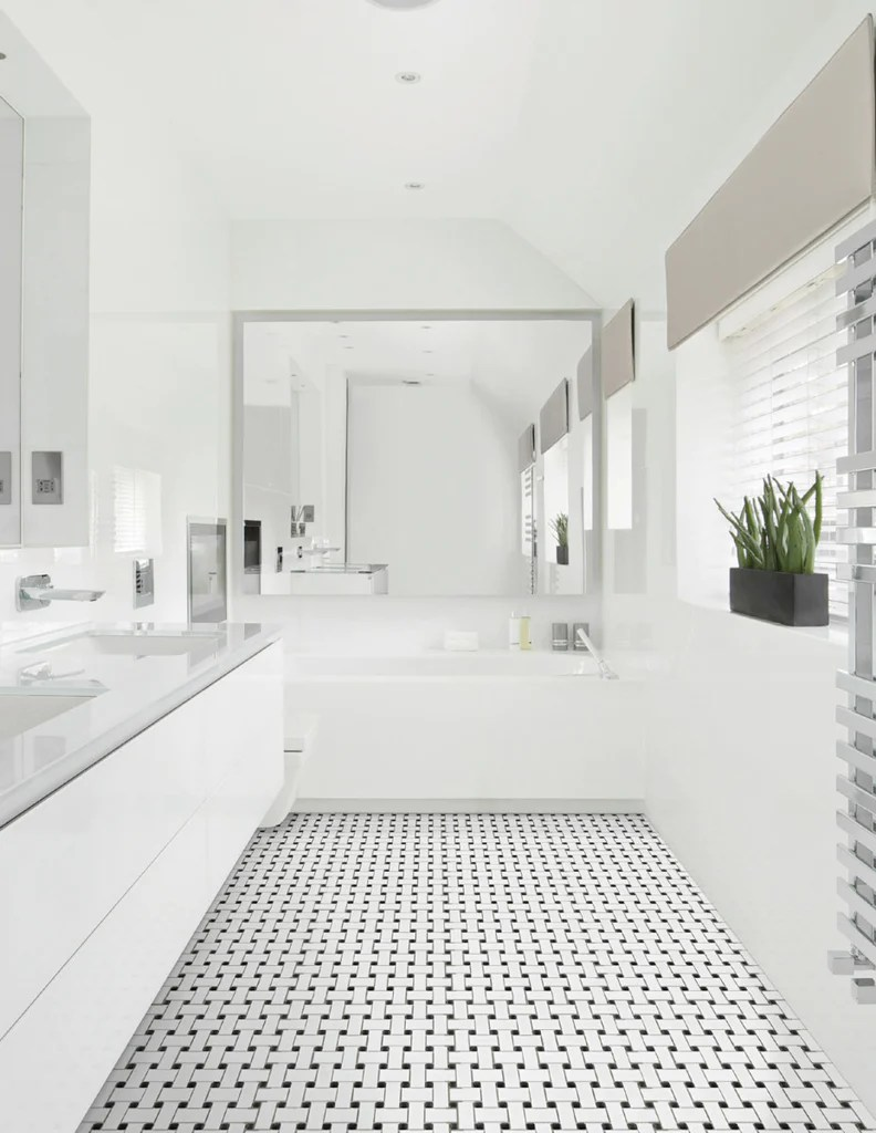 glazed porcelain white and black basketweave mosaic tiles