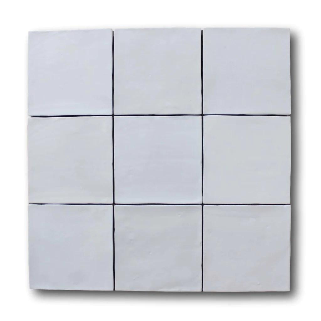 mestizaje zellige 5 x 5 ceramic tiles white matte