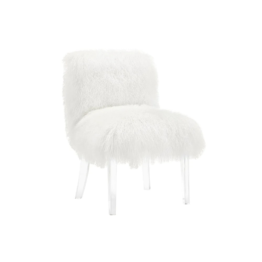 Lucite Chair Tov Sophie White Sheepskin Lucite Chair