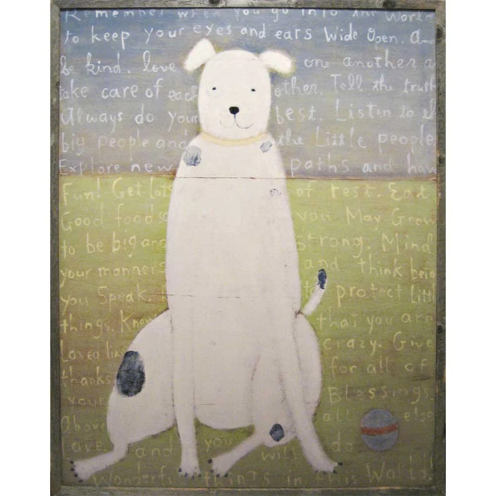 white dog vintage framed