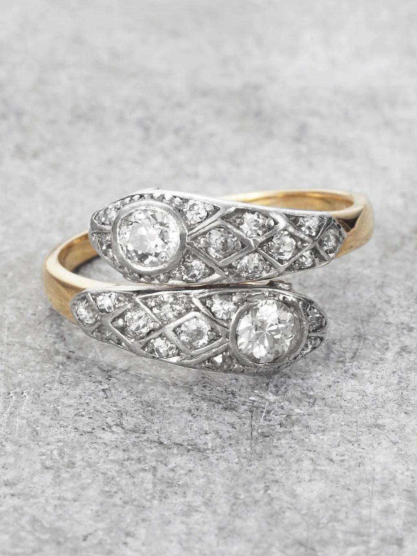 Platinum Amp 18K Diamond Snake Ring Victorian LUNESSA