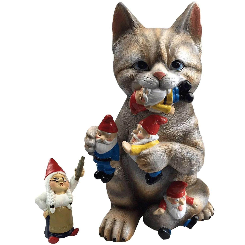 Garden Gnome Massacre Cat Statue