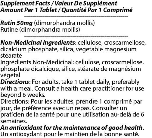 Rutin Tablets Rutoside Adults Anti-Inflammatory Blood Vascular Vision - Total Natural