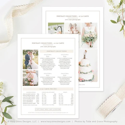 5x7 Wedding Photography Price List Template Organic