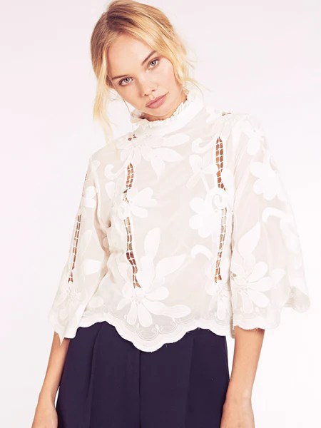 Dahlia Jordana White Embroidered Victoriana Blouse with Frill Collar