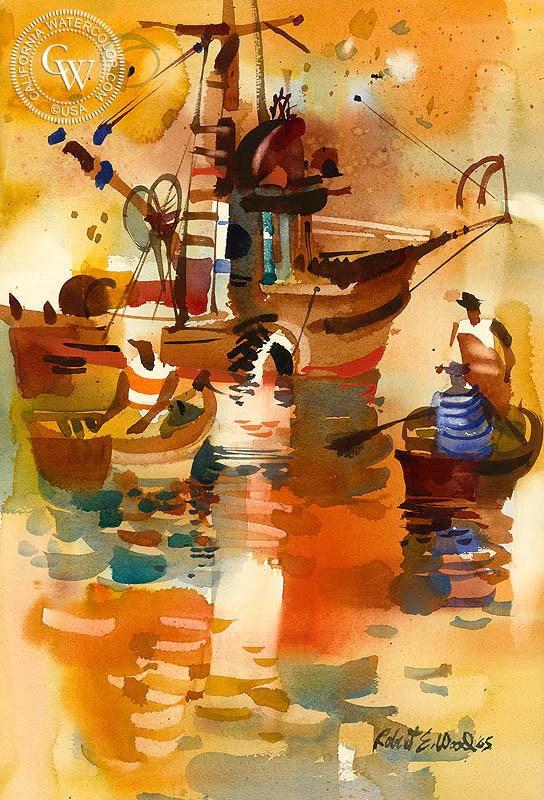 Robert Wood Prints : robert, prints, Dory's,, 1965,, Watercolor, Painting, Robert, California
