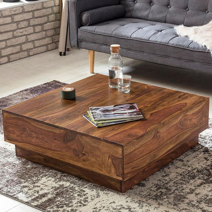 solid wood charlie low square coffee table