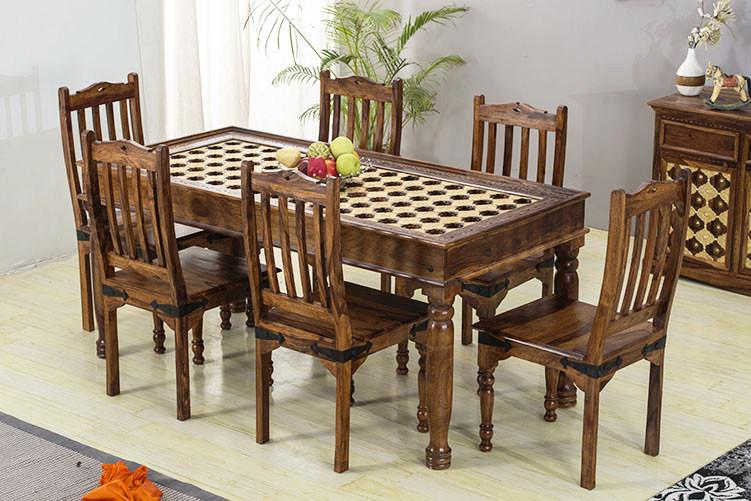 Brass Dining Set Solid Wood Furniture Buy Dining Table Online Saraf Furniture
